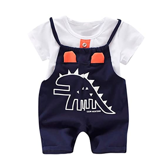 PAOLIAN Conjuntos para bebé niños Unisex Ropa para recién Nacidos Verano Camisetas + Tirantes de Pantalones