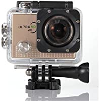 Becoler Waterproof WIFI Sports Action Camera 14MP 2.0-Inch HD Diving Sports Camera with Battery and Accessories Kit Included,Gold(Memory Card Not Included)