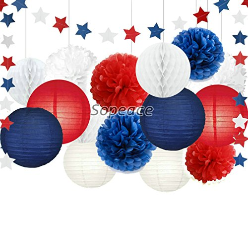 Tissue Paper Pom Pom Paper Flower Paper Lantern Paper Honeycomb Ball Blue Red White Paper Star Garland Banner 4th of July Decorations Patriotic Decoration (Patriotic Party Decorations)