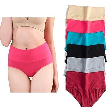 068553be03f U Angela Women s Cotton Underwear High Waist Panties Plus Size Briefs Panty  -6 Pack (