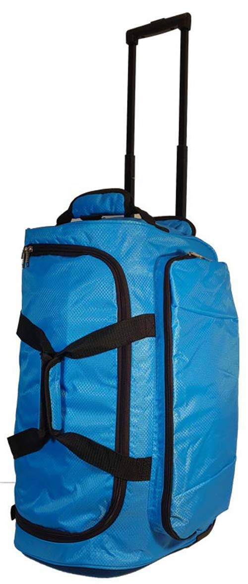 Kids Travel Zone Big Girls Rolling Duffel With Butterflies in Turquoise