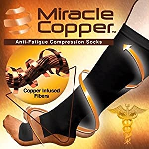 As Seen on TV Copper Compression Socks Diabetic, Reduce swelling in Tired Legs UNISEX size S/M