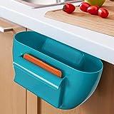 Multifunctional Plastic Scrap Trap with Scraper Kitchen Desktop Hanging Food Garbage Bin Rubbish Organizer Storage Box Cupboard Cabinet Rack - Blue