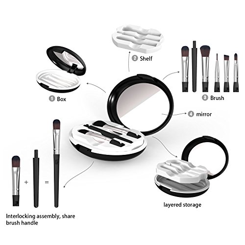 5-In-1 Portable Professional Artist Paint Brush Set Box Foundation Eyeshadow Makeup Brushes with Shared Handle at Home or Travel by QTKJ (Image #3)