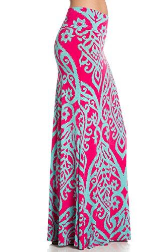 Women's Foldover High Waisted Floor Length Maxi Skirt (Large, Fuchsia Aqua)