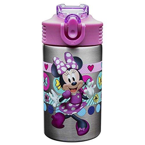Zak Designs MMOW-S733-AMZ Disney 15 oz. stainless steel bottle, Minnie Mouse & Daisy Duck, 3-piece set