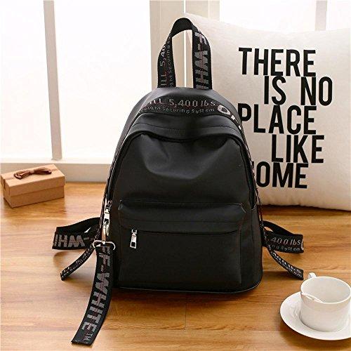 Aoligei Las señoras bolso de moda coreano cinta mochila de viaje de tela Oxford doble bandolera Colegio viento E