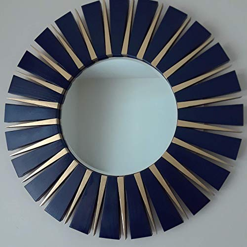 Round Wall Mirror Handmade Navy Blue and Gold