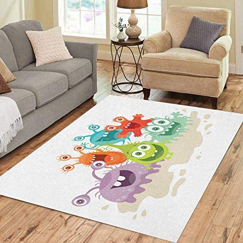 Semtomn Area Rug 5' X 7' Cartoon Monsters Funny Smiling Germs Character Big Eyes Home Decor Collection Floor Rugs Carpet for Living Room Bedroom Dining Room
