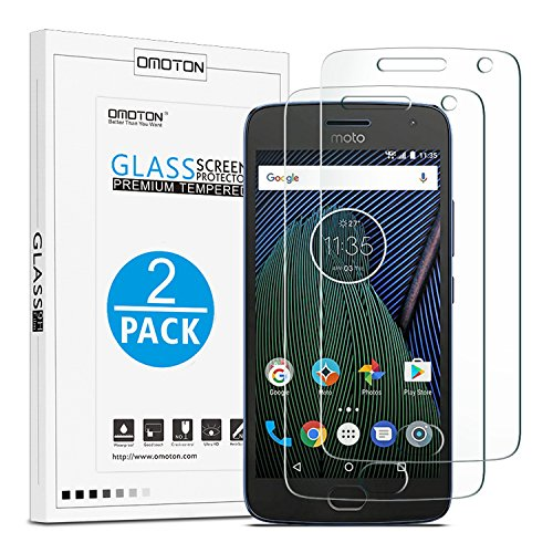 Moto G5 Plus Screen Protector, [2 Pack] OMOTON Tempered Glass Screen Protector with [Scratch Resistant] [Crystal Clear] [Easy Installation] [Bubble Free] for Motorola G Plus 5th Gen [5.2 In] / XT1687 (Phone Moto Mobile G 2)