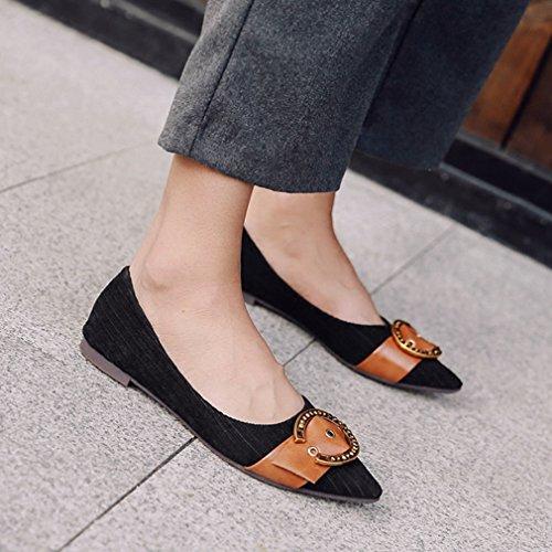 Giy Dames Retro Puntschoen Flats Loafers Ballet Comfort Slip-on Gesp Klassieke Jurk Loafer Schoenen Zwart