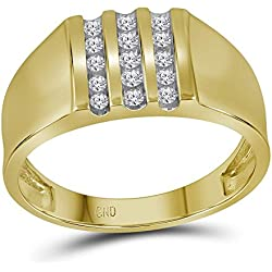 10kt Yellow Gold Mens Round Channel-set Diamond Triple Row Wedding Band Ring 1/4 Cttw (I2-I3 clarity; I-J color)