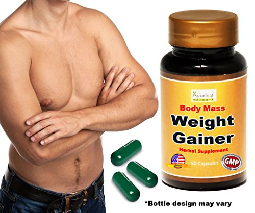Ayurleaf Weight Gainer Men's Weight Gain Formula. Mass Gainer Gain weight pills for men 1, 2, 3 or 4 Bulk Packs Helps skinny men gain body mass. Appetite Enhancer. Fast Weight for Men.