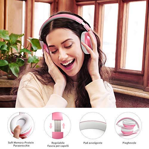 Cuffie Wireless Over Ear, Cuffie Bluetooth Senza Fili con Microfono Incorporato, Cuffie Stereo Pieghevoli Audio Hi-Fi per Telefono/Pc/Tv/Online, Comodi Paraorecchie per Indossare a Lungo(Rosa)