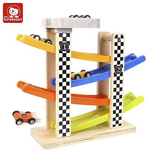 Ramp Racer Race Track;TEYTOY Toddlers Wooden Ramp Racer