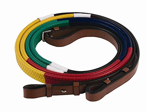 Henri de Rivel Rainbow Training Reins - Size:Horse Color:Green/Navy/Red/Yellow