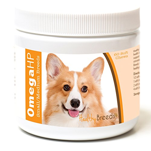 Healthy Breeds Omega 3 for Dogs for Pembroke Welsh Corgi - Over 100 Breeds - EPA & DHA Fatty Acids - Small & Medium Breed Formula - 60 Count