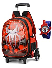 "16"" kids superhero spiderman carry on luggage with rolling wheels for travel or school with free kids watch"