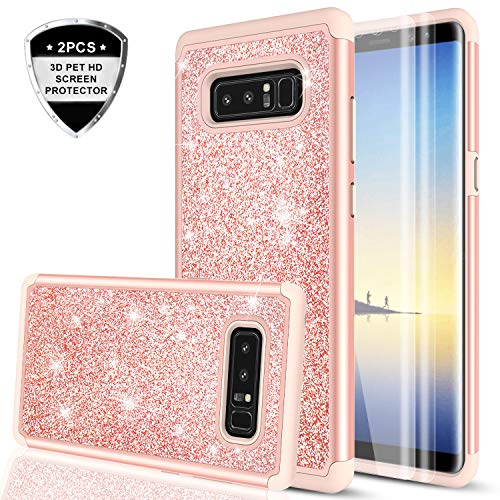 LeYi Galaxy Note 8 Glitter Case with 3D PTE Screen Protector [2 Pack], Bling Girls Women Cute Design Dual Layer Hybrid Heavy Duty Protective Phone Case for Samsung Galaxy Note 8 TP Rose Gold