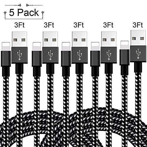 MFi Certified iPhone Charger Lightning Cable 5 Pack[3 FT] Nylon Braided USB Charging & Syncing Cord Compatible with iPhone Xs/Max/XR/X/8/8Plus/7/7Plus/6S/6S ()