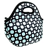 : Neoprene Blue Dot Lunch Tote Bag - Insulated Waterproof Lunch Box for Women, Adults, Kids, Girls, and Teen Girls - Homwe
