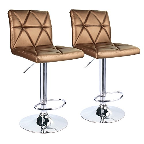 Leader Accessories Bar Stool, Hydraulic Square Back Diagonal Line Adjustable Bar Stools, Set of 2 (Gold)