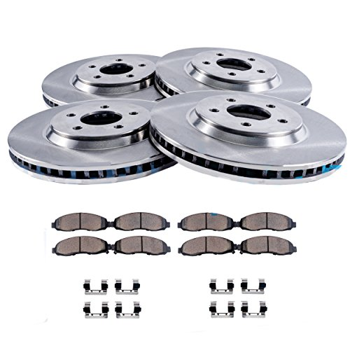FRONT & REAR Brake Rotors & Ceramic Brake Pads w/Hardware fits Models w/Female Oval Sensor - CHECK FITMENT SPECIFICS ()