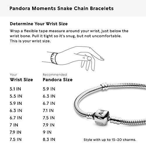 Pandora Jewelry Iconic Moments Snake Chain Charm Sterling Silver Bracelet,  7.1