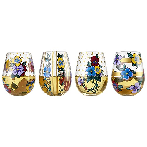 - Enesco 6002659 Designs by Lolita Set Pansy Blown, 20 oz. Stemless Wine Glass 20 Ounces Multicolor