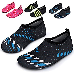 L-RUN Water Aqua Shoes For Kids Beach Sea Shoes Flexible Black Blue US 1-2=EU 32-33
