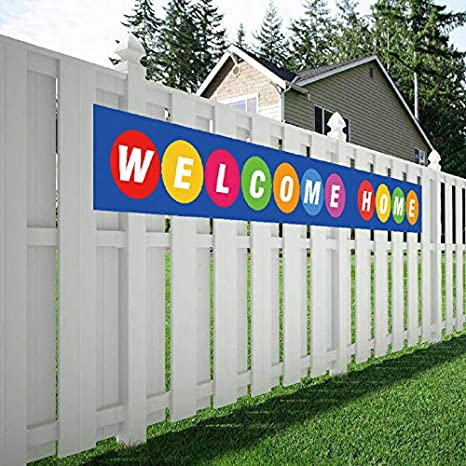 Welcome Home Banner, Colorful Homecoming Deployment Return Party Sign Decoration