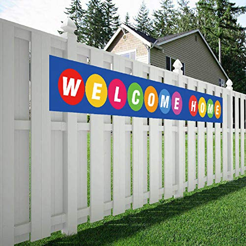 (Welcome Home Banner, Colorful Homecoming Deployment Return Party Sign)