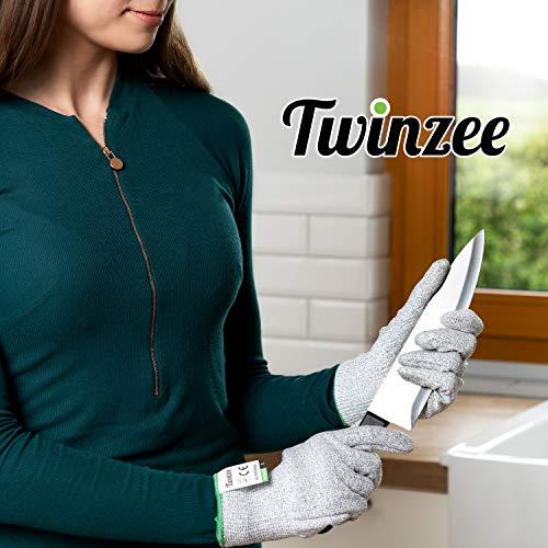 Guantes anticortes Twinzee® - Protección nivel 5 de alto rendimiento, aptos para uso alimentario, certificación EN 388, 1 par (Small)