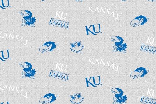NCAA Licensed University of Kansas Jayhawks Grey Heather Fleece Fabric 60'' Width Sold By The Yard