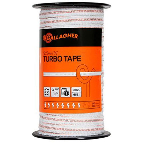 Gallagher G623544 Electric Fence1/2-Inch Turbo Tape, 656-Feet, White by Gallagher