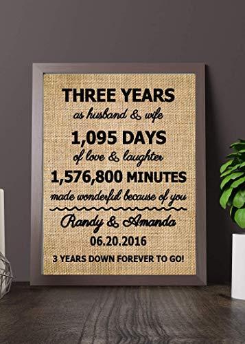 Third anniversary gift ideas,3 years anniversary gift for him, Leather anniversary for gift for wife, Three years anniversary gift for her(Frame not included) (Third Ideas Anniversary Gift)