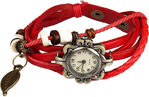 Women Handmade Watches Weave Wrap Leather Bracelet Wristwatch White - 6