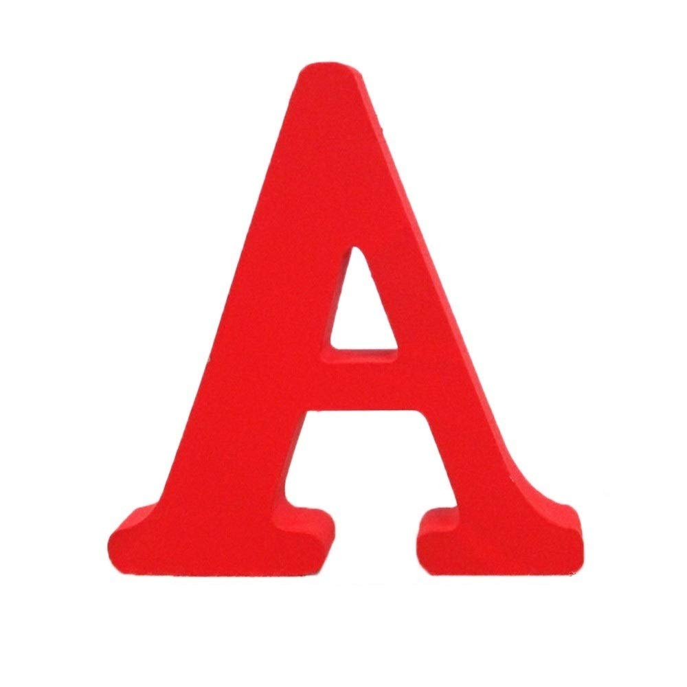 Wooden Letters, Toifucos A-Z DIY English Alphabet Craft Ornaments for Home Wedding Birthday Party Decoration Accessories, Red 1 pcs A