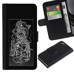 A-type (Diseño floral Negro Blanco Cráneo floral) Colorida Impresión Funda Cuero Monedero Caja Bolsa Cubierta Caja Piel Card Slots Para Apple iPhone 5 / iPhone 5S