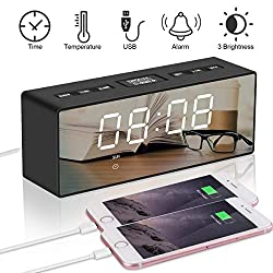 Makerfun Alarm Clock, Multi-Function Digital FM Radio Clock 6.5 Large LED Display with Timer, Adjustable Brightness, Mirror Surface, 2 USB Charging Ports and Big Snooze Button for Bedroom Kids