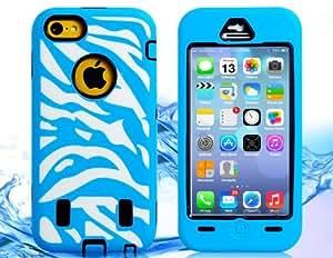 3-en-1 de rayas de silicona y TPU desmontable de goma del caso con la cubierta frontal para iPhone 5C (azul)