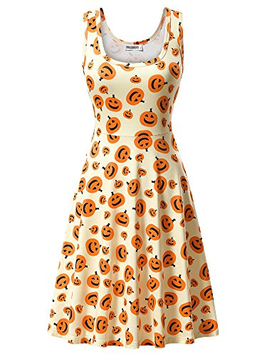 HUHOT Halloween Dress Sleeveless Casual A Line Pumpkin Printed Party Midi Maternity Dress Medium -