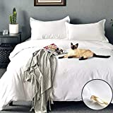 Duvet Cover Set Queen Size White Premium with Zipper Closure Hotel Quality Hypoallergenic Wrinkle and Fade Resistant Ultra Soft -3 Piece-1 Soft Microfiber Comforter Cover Matching 2 Pillow Shams