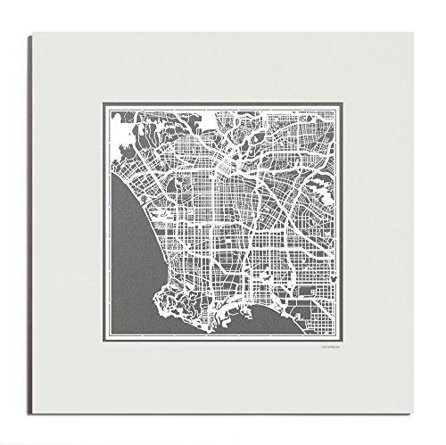 O3 Design Studio Los Angeles Paper Cut Map Matted Grey 20x20 In. Paper - Location Disneyland California