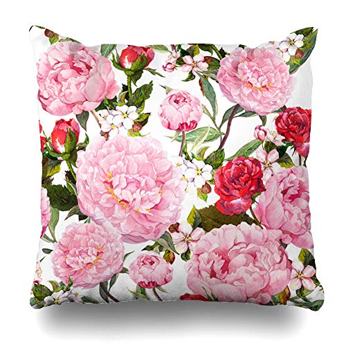 (Ahawoso Throw Pillow Cover Apple Pink Vintage Peony Flowers Red Roses Sakura Floral Watercolor Nature Pattern Bohemian Design Home Decor Cushion Case Square Size 16 x 16 Inches Zippered Pillowcase)