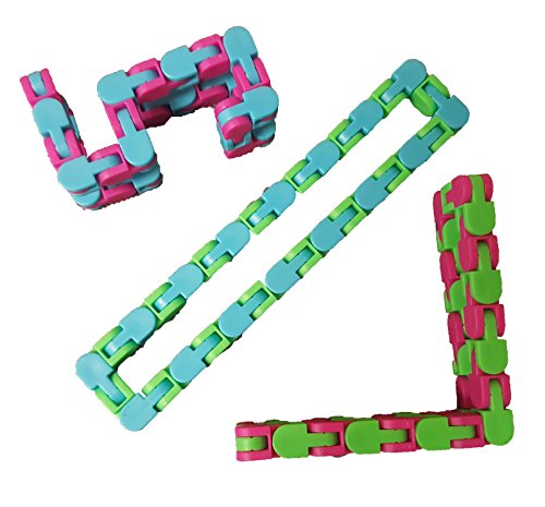 Universal Specialties Wacky Tracks Snap and Click Fidget Toys for Sensory Kids - Snappy Snake Puzzles Assorted Colors Pack of 4