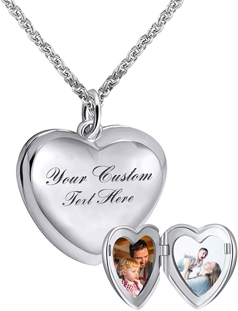 925 Sterling Silver Personalized Photo Heart Locket Necklace Forever in My Heart Custom Add Your Text That Holds Pictures for Women Men Kids