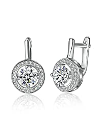 PAHALA Silver Plated Round Full Love Crystal Party Wedding Stud Earring