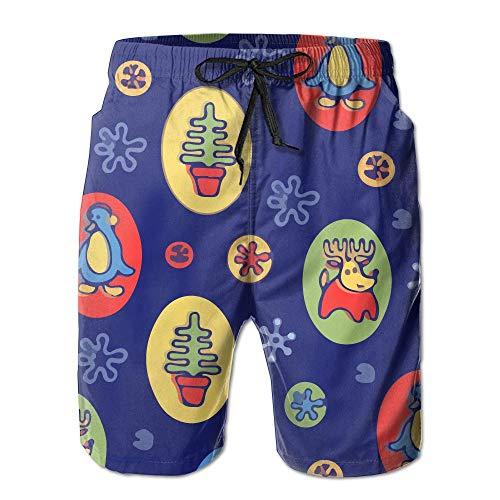 - B-xww Cartoon Snowman Mens Slim Fit Quick Dry Printed Board Shorts Swim Trunks No Mesh Lining