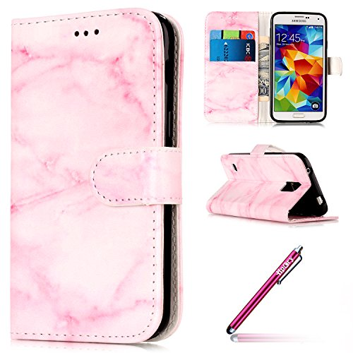 Galaxy S5 Cover Silicone Bumber,Galaxy S5 Case Bookstyle,Hpory Retro Blume Rattan Butterfly Muster Bling Flash-Pulver Handyhüllen Leder PU Bookstyle Klapphülle Case With Multi-Kredit Kartenfächer Wall Marmor,rosa